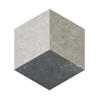 Traffic Hex 3D Grey 8-5/8 in. x 9-7/8 in. Porcelain Floor and Wall Tile (11.56 sq. ft. / case)