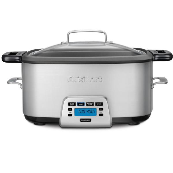 Cook Central 7 Qt. Brushed Stainless Steel Electric Multi-Cooker with Aluminum Pot