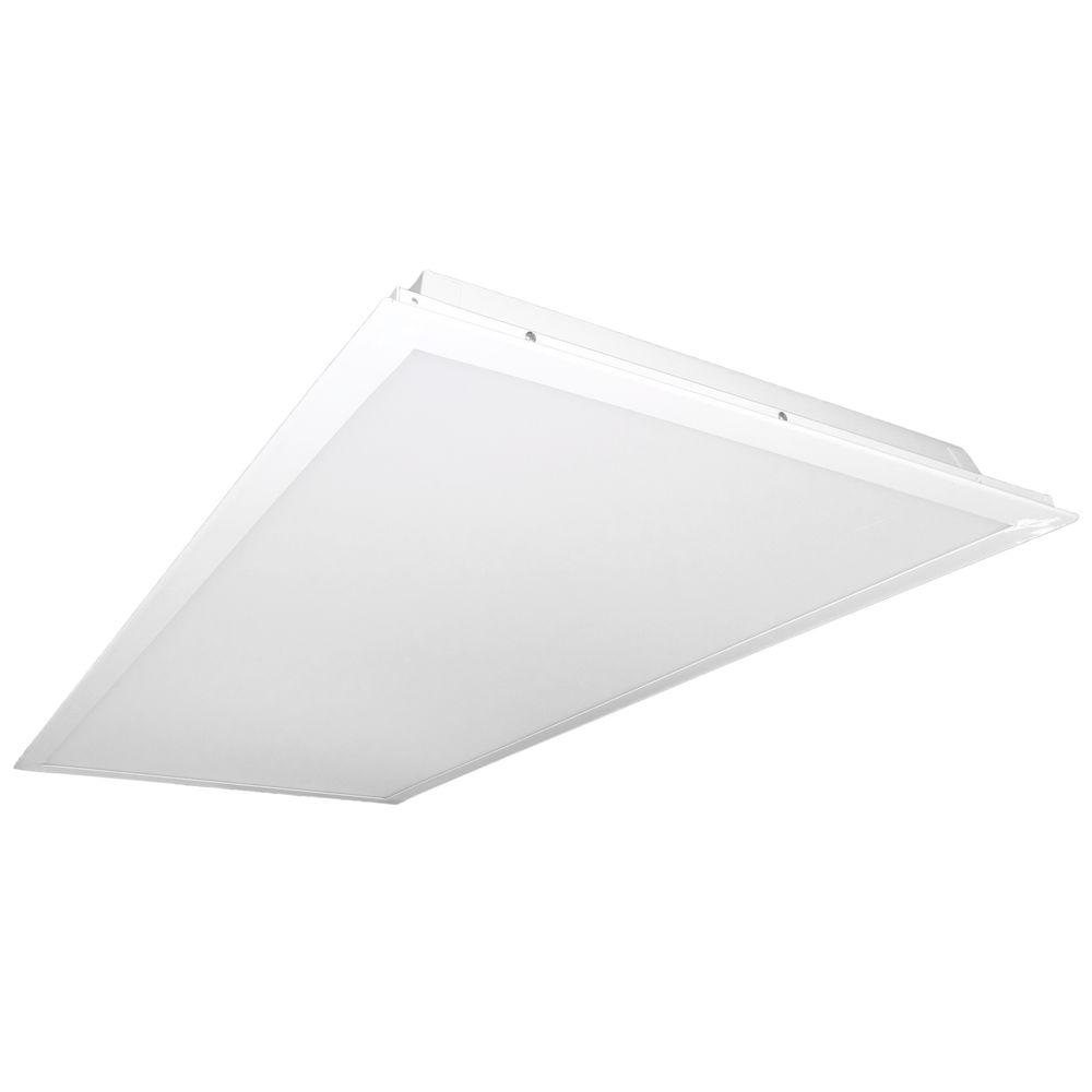 null MAXCOR T3V 2 ft. x 4 ft. White LED Multi-Volt Ceiling Troffer with Emergency Ballast