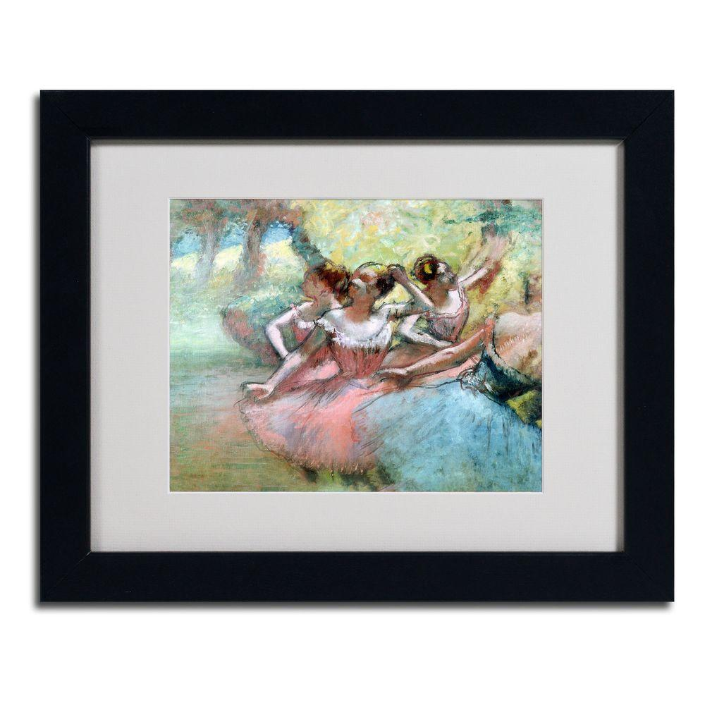Trademark Fine Art 11 in. x 14 in. Four Ballerinas on The Stage Matted Framed Art