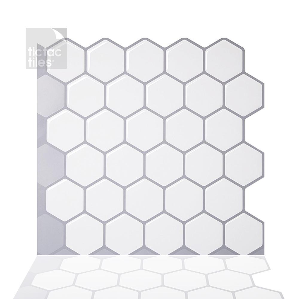 Hexa Mono White 10 in. W x 10 in. H Peel and Stick Self-Adhesive Decorative Mosaic Wall Tile Backsplash (5-Tiles)