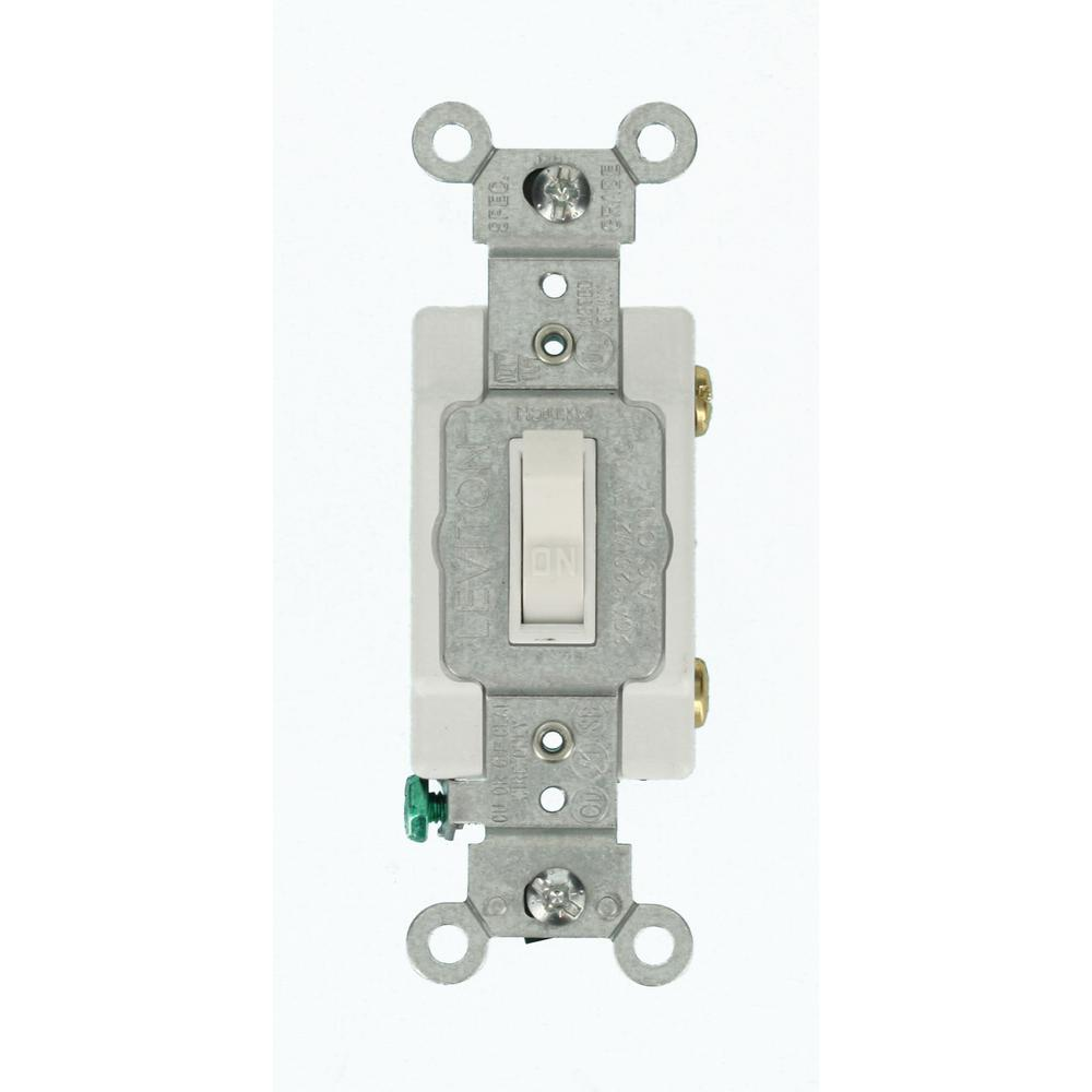 20 Amp Commercial Grade Single-Pole Toggle Switch, White