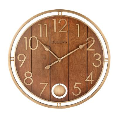Oversized 30 in. Tongue and Groove Bronze Tone Wall Clock with Pendulum