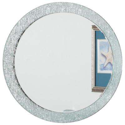 28 in. x 28 in. Round Molten Frameless Bathroom Mirror and Vanity Mirror with Beveled Edge