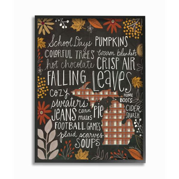 The Stupell Home Decor Collection 11 In X 14 Michigan Fall Typography