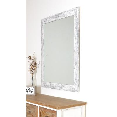 Distressed 32 in. W x 38 in. H Framed Rectangular Bathroom Vanity Mirror in Distressed White
