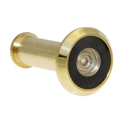 190-Degree Bright Brass Door Viewer with Mixed Lenses
