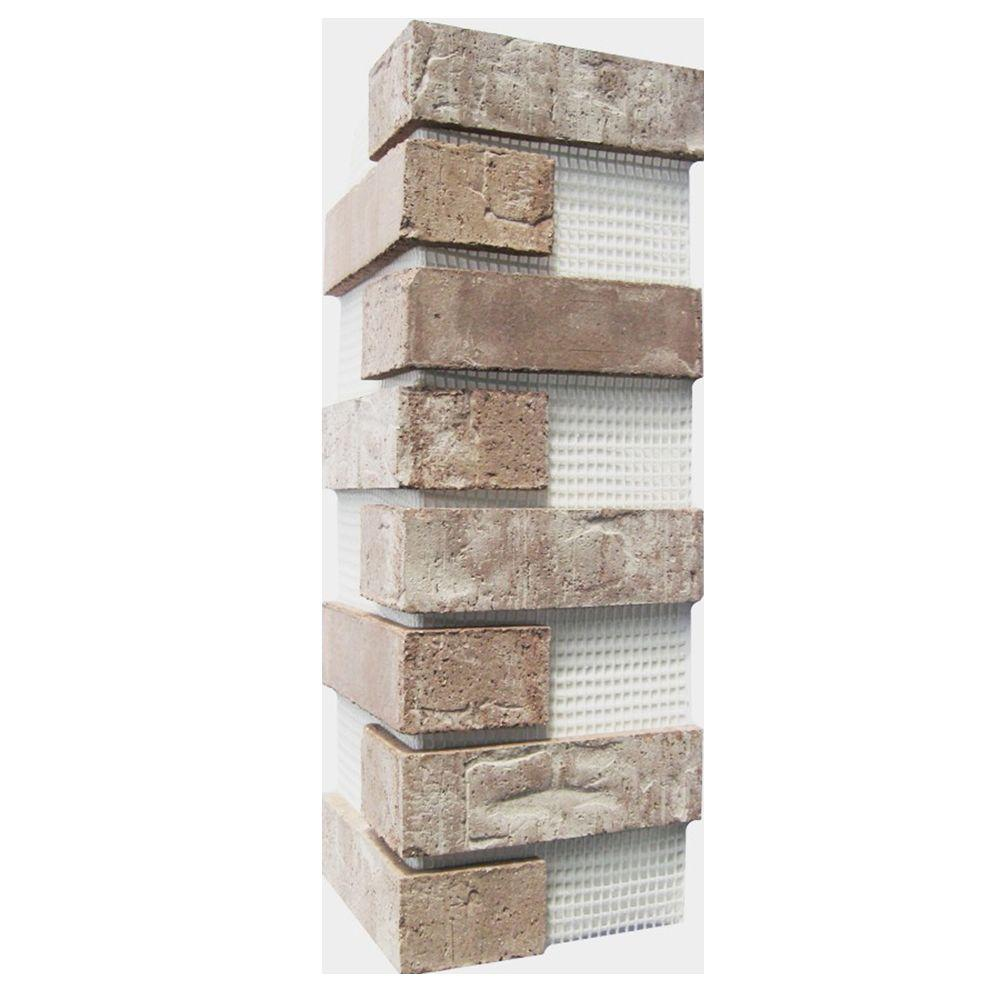 Old Mill Brick Brickwebb Little Cottonwood Thin Brick Sheets - Corners (Box of 3 Sheets)  21 in x 15 in (5.3 linear ft.)