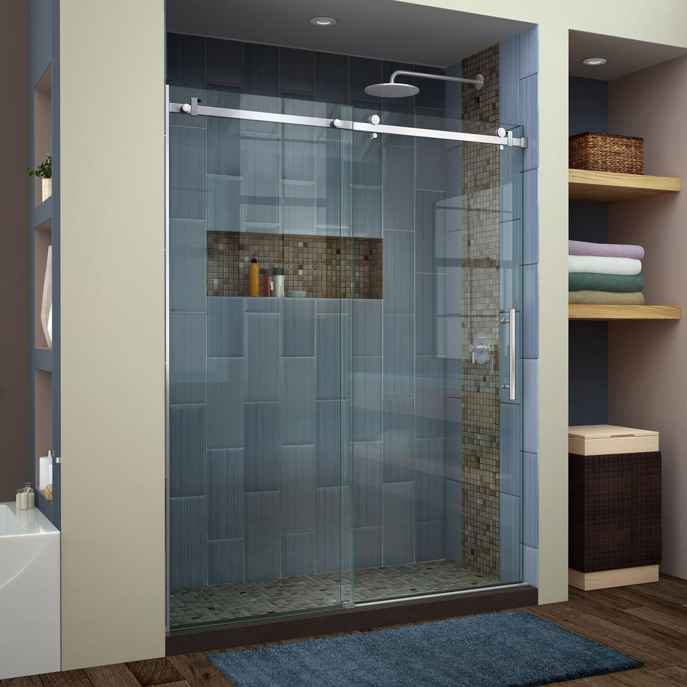 Bathroom Sliding Glass Doors: DreamLine Enigma Air 56 In. To 60 In. X 76 In. Frameless