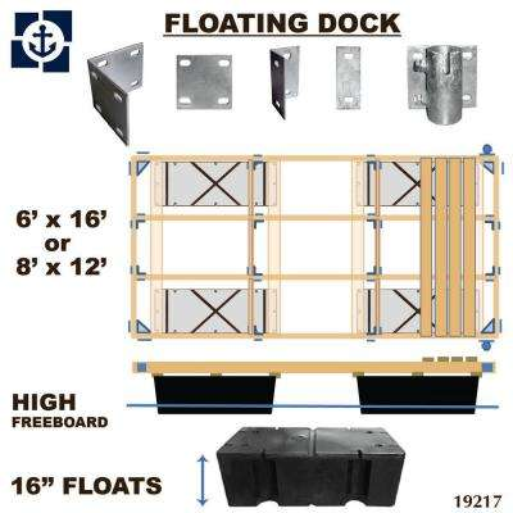 Floating Dock Kit, 16 in. Floats