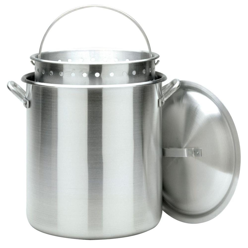 Bayou Classic 100 qt. Stockpot with Perforated Basket and Vented Lid