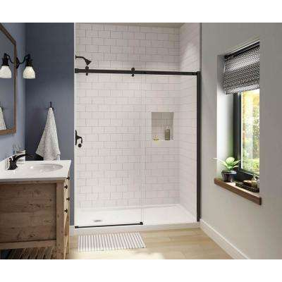 Luminescence 59 in. x 72 in. Frameless Sliding Shower Door in Dark Bronze