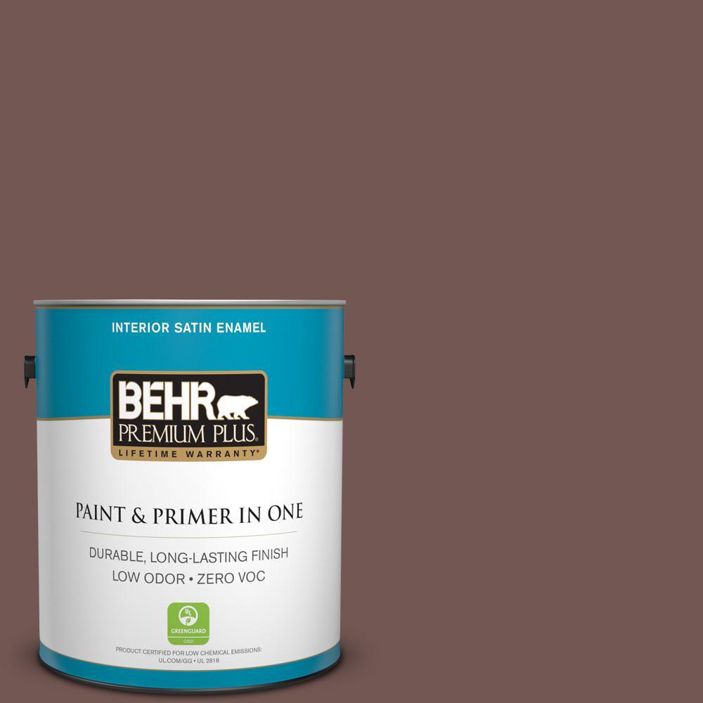1-gal. #220F-7 Yorkshire Brown Zero VOC Satin Enamel Interior Paint