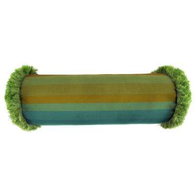 Sunbrella 7 in. x 20 in. Astoria Lagoon Bolster Outdoor Pillow with Gingko Fringe