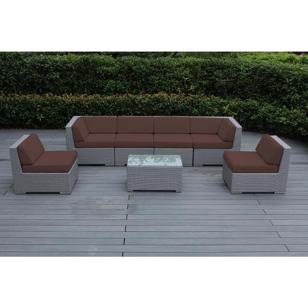 Ohana Depot Ohana Gray 7-Piece Wicker Patio Seating Set with Spuncrylic Brown Cushions