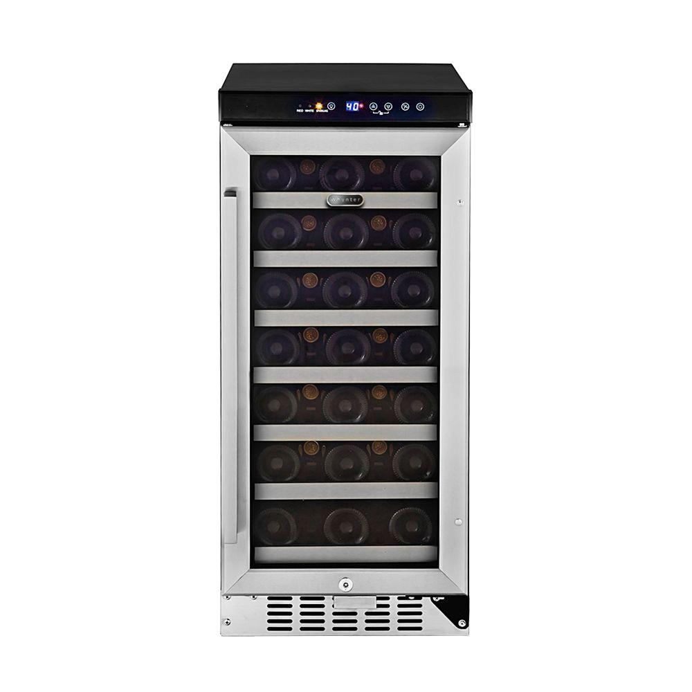 Whynter 33-Bottle Built-In Wine Refrigerator in Stainless...