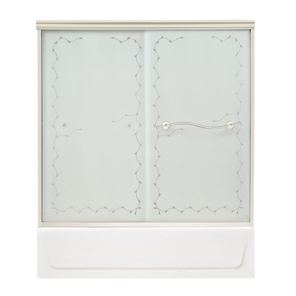 MAAX Vine 54 in. to 59-1/2 in. W Tub Door in Satin Nickel with Frosted Vine Glass-DISCONTINUED
