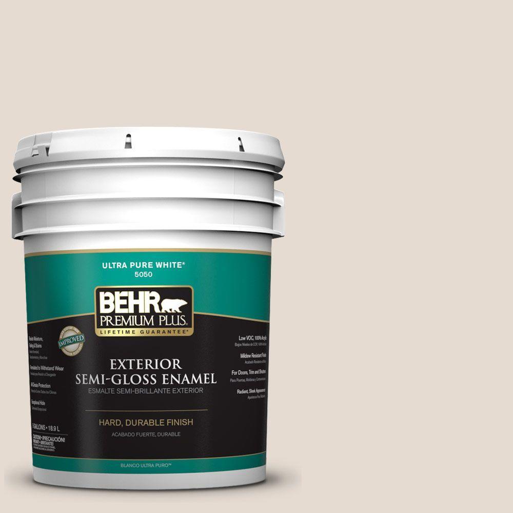 BEHR Premium Plus 5-gal. #W-F-220 Cinnamon Cake Semi-Gloss Enamel Exterior Paint