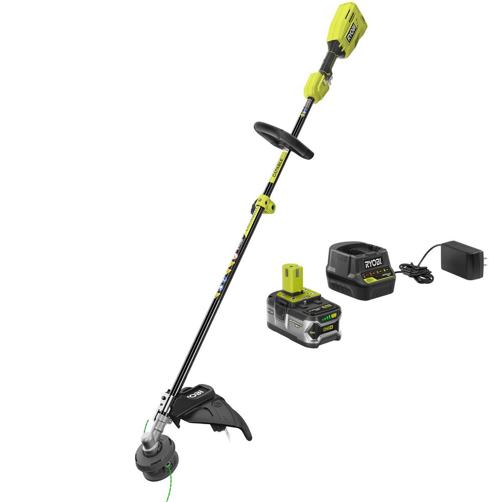 RYOBI ONE+ 18-Volt Lithium-Ion Cordless Attachment Capable Brushless String Trimmer, 4.0 Ah Battery and Charger Included