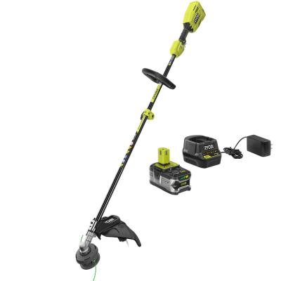 ONE+ 18-Volt Lithium-Ion Cordless Attachment Capable Brushless String Trimmer, 4.0 Ah Battery and Charger Included