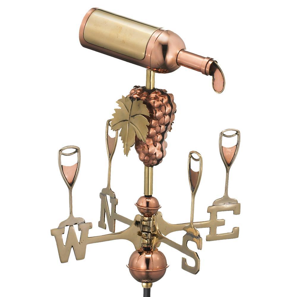 Wine Bottle Garden Weathervane - Pure Copper with Garden Pole