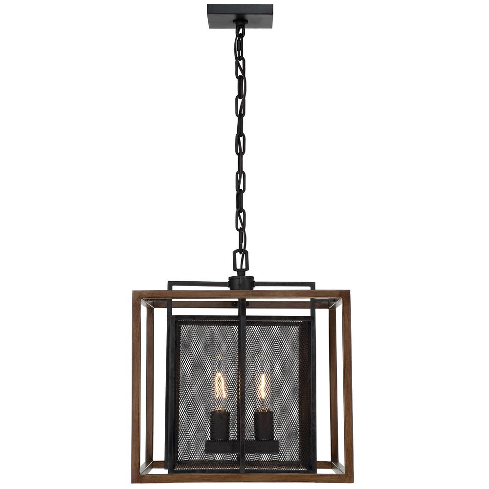 Varaluz Rio Lobo 2-Light Dark Oak with Black Pendant-285P02DOBL - The Home Depot
