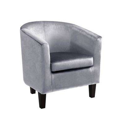 Grey Velvet Arm Chair Accent Chairs Chairs The Home Depot