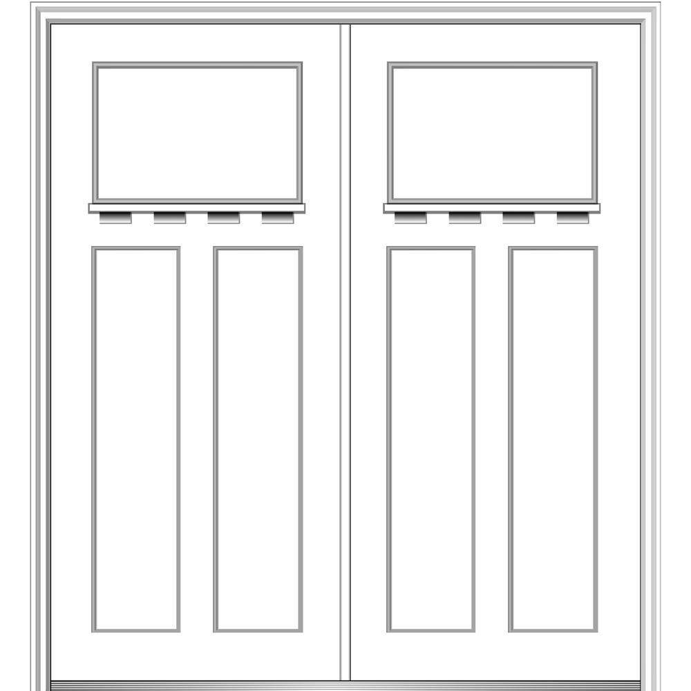 MMI Door 64 in. x 80 in. Classic Left-Hand Inswing Craftsman 3-Panel Painted Fiberglass Smooth Prehung Front Door with Brickmould