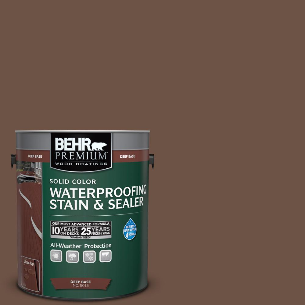 BEHR Premium 1 gal. #N190-7 Moose Trail Solid Color Waterproofing Exterior Wood Stain and Sealer