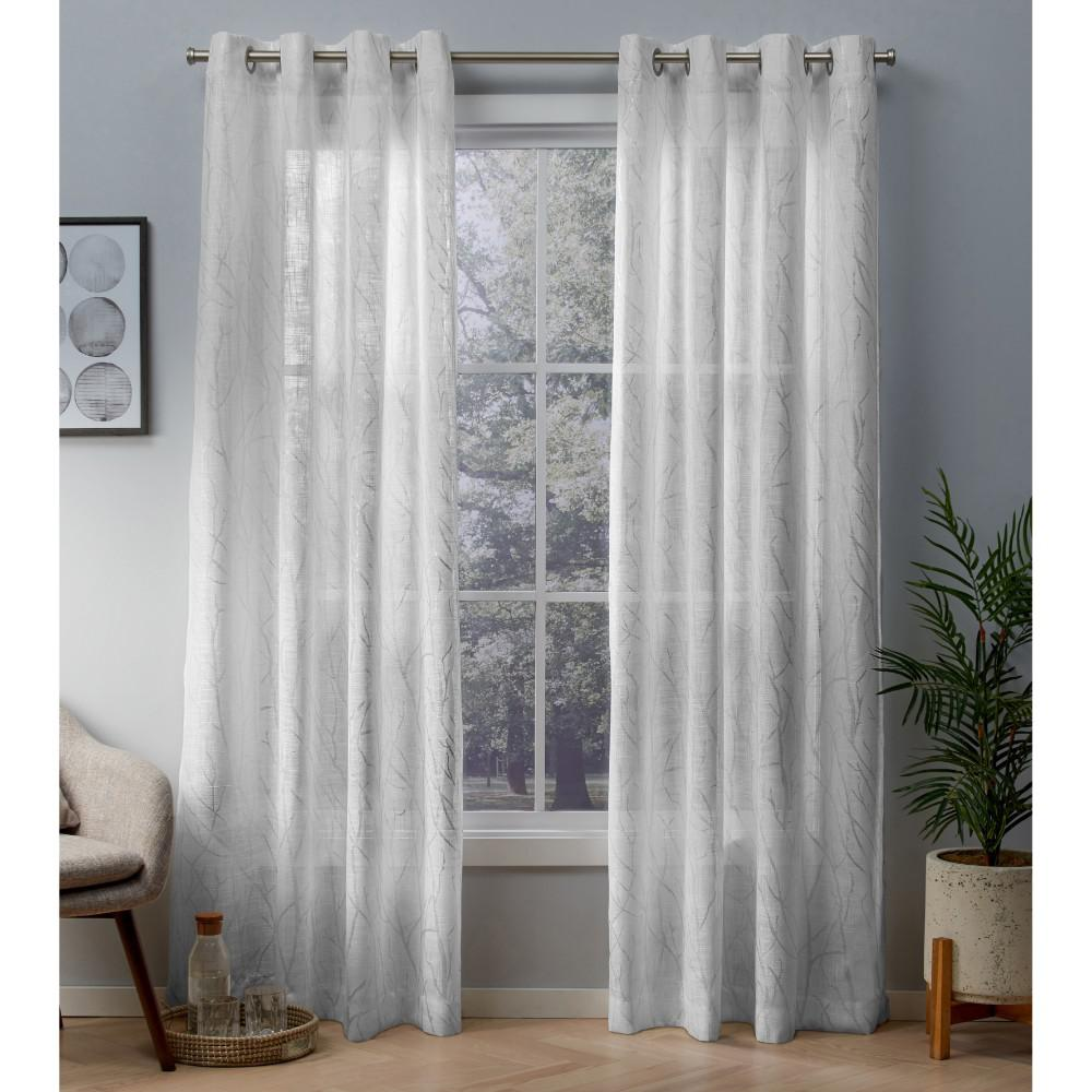 Woodland Winter White Silver Printed Metallic Branch Sheer Textured Linen Grommet Top Window Curtain