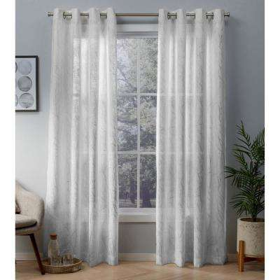Woodland 54 in. W x 84 in. L Sheer Grommet Top Curtain Panel in Winter White, Silver (2 Panels)