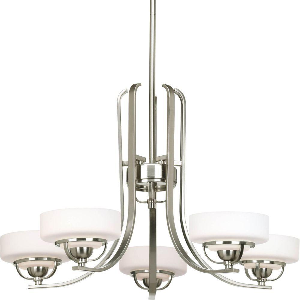 Progress Lighting Torque Collection 5-Light Brushed Nickel Chandelier