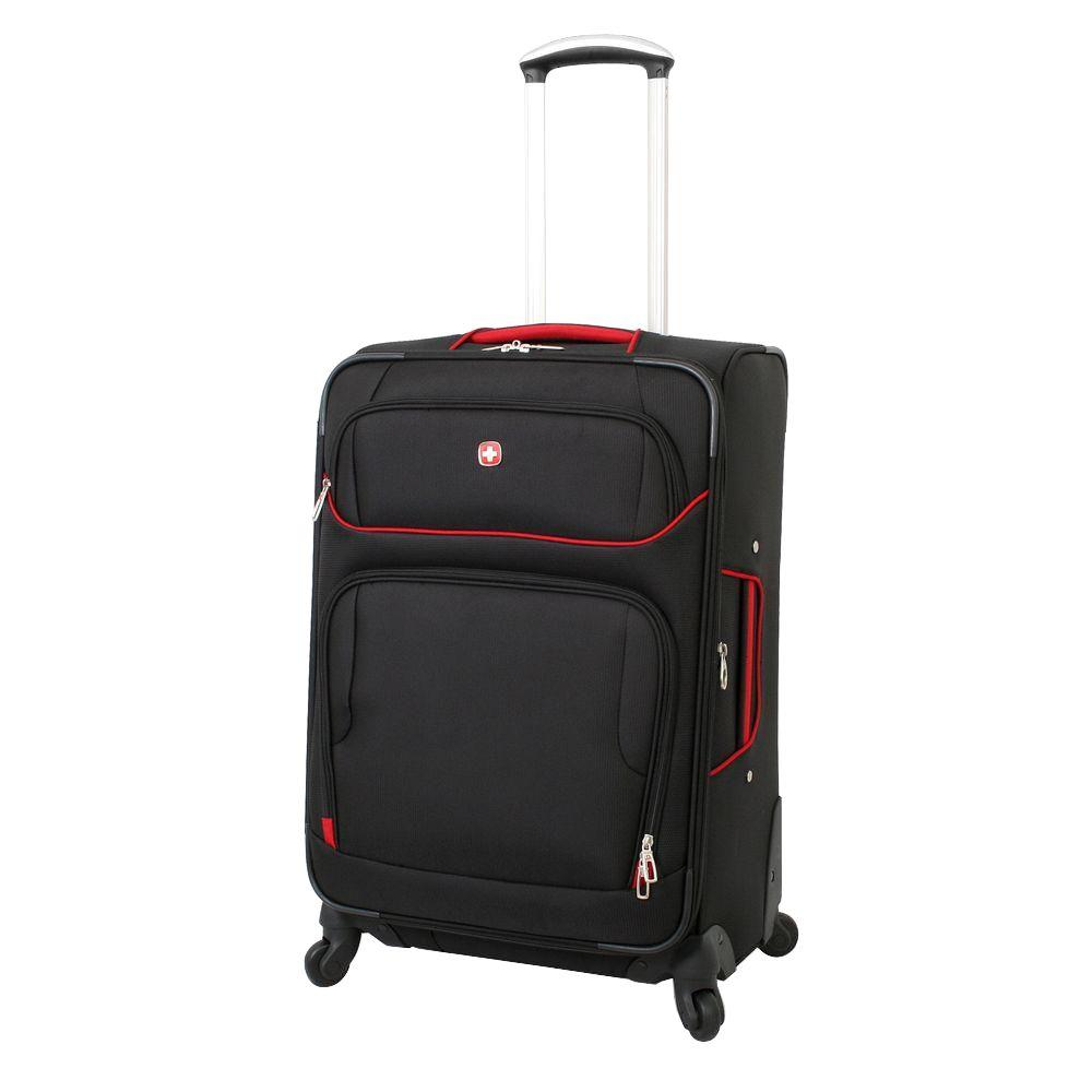 28 in. Black and Red Spinner Suitcase