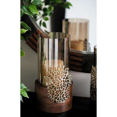 14 in. Smoked Beige Glass and Brown Mango Wood Hurricane Candle Holder with Gold Coral Accent