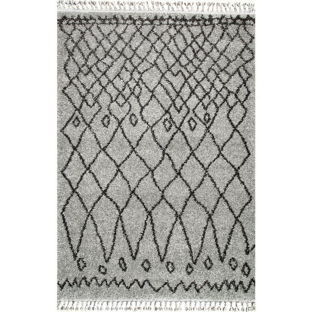 Valinda Moroccan Trellis Tassel Gray 5 ft. x 8 ft. Area Rug