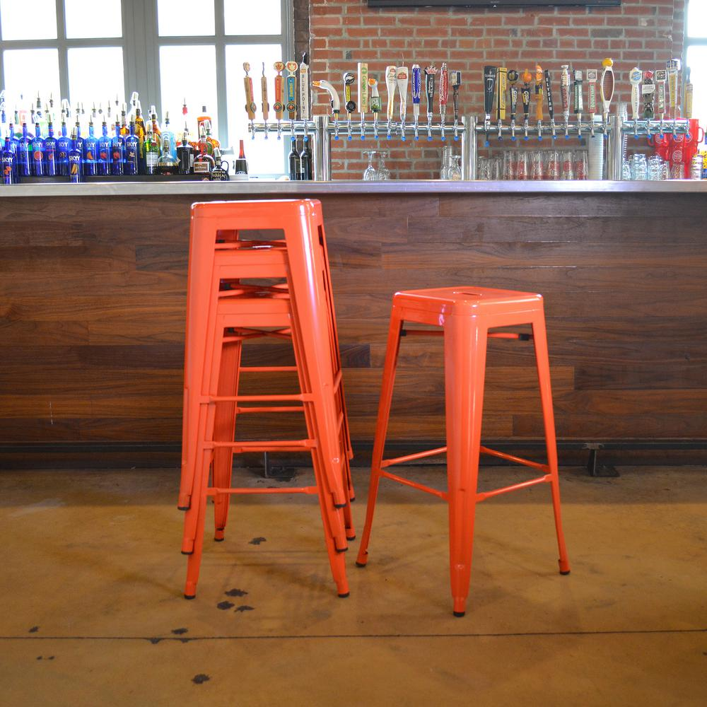 Stackable Metal Bar Stool In Orange (Set Of 4