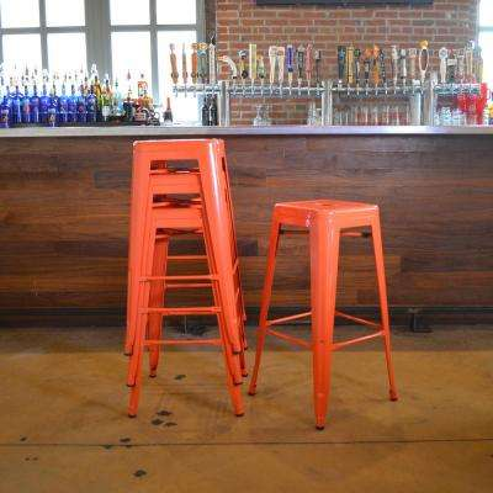 Loft Style 30 in. Stackable Metal Bar Stool in Orange (Set of 4)