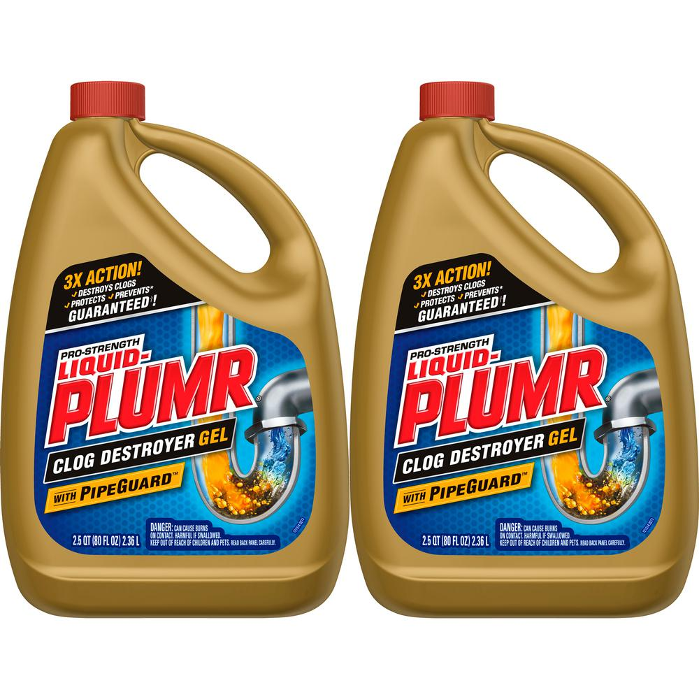 Liquid-Plumr 80 oz  Professional Strength Full Clog Destroyer and Drain  Cleaner (2-Pack)