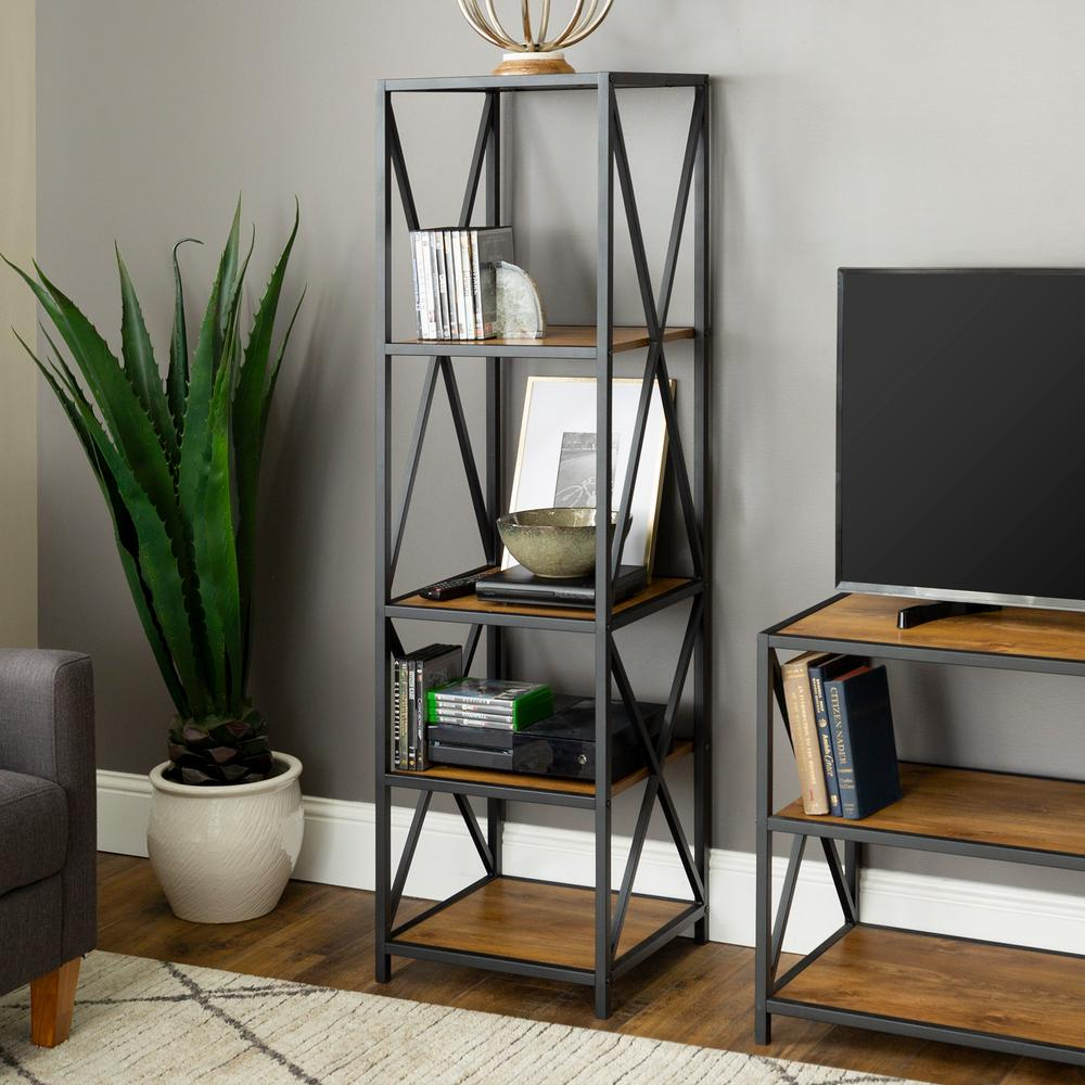 61 in. Barnwood/Black Metal 4-shelf Etagere Bookcase with Open Back