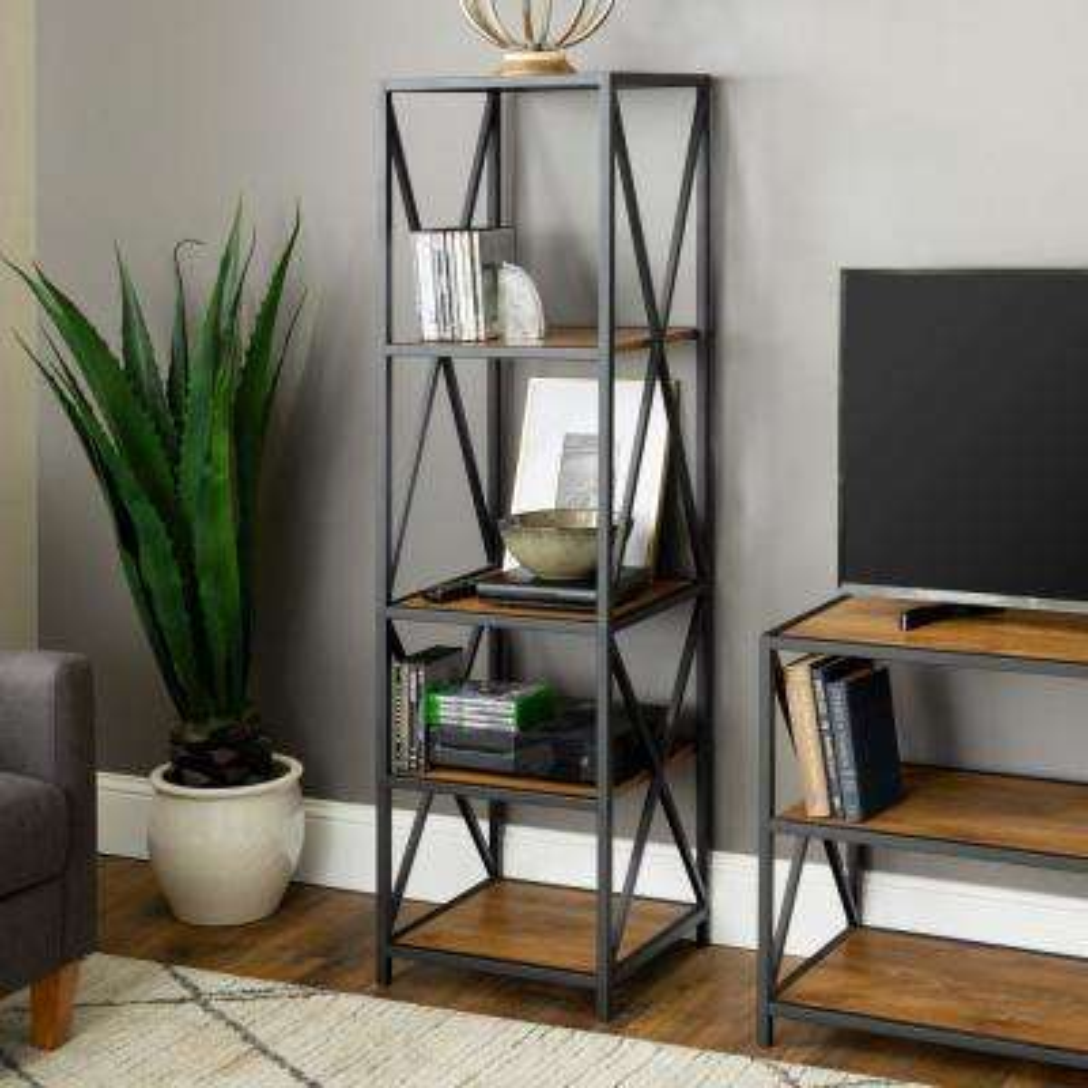X-Frame Barnwood Metal and Wood Media Bookshelf