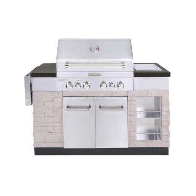 4-Burner Propane Gas Island Grill in Stainless Steel with Rotisserie Burner and Searing Side Burner