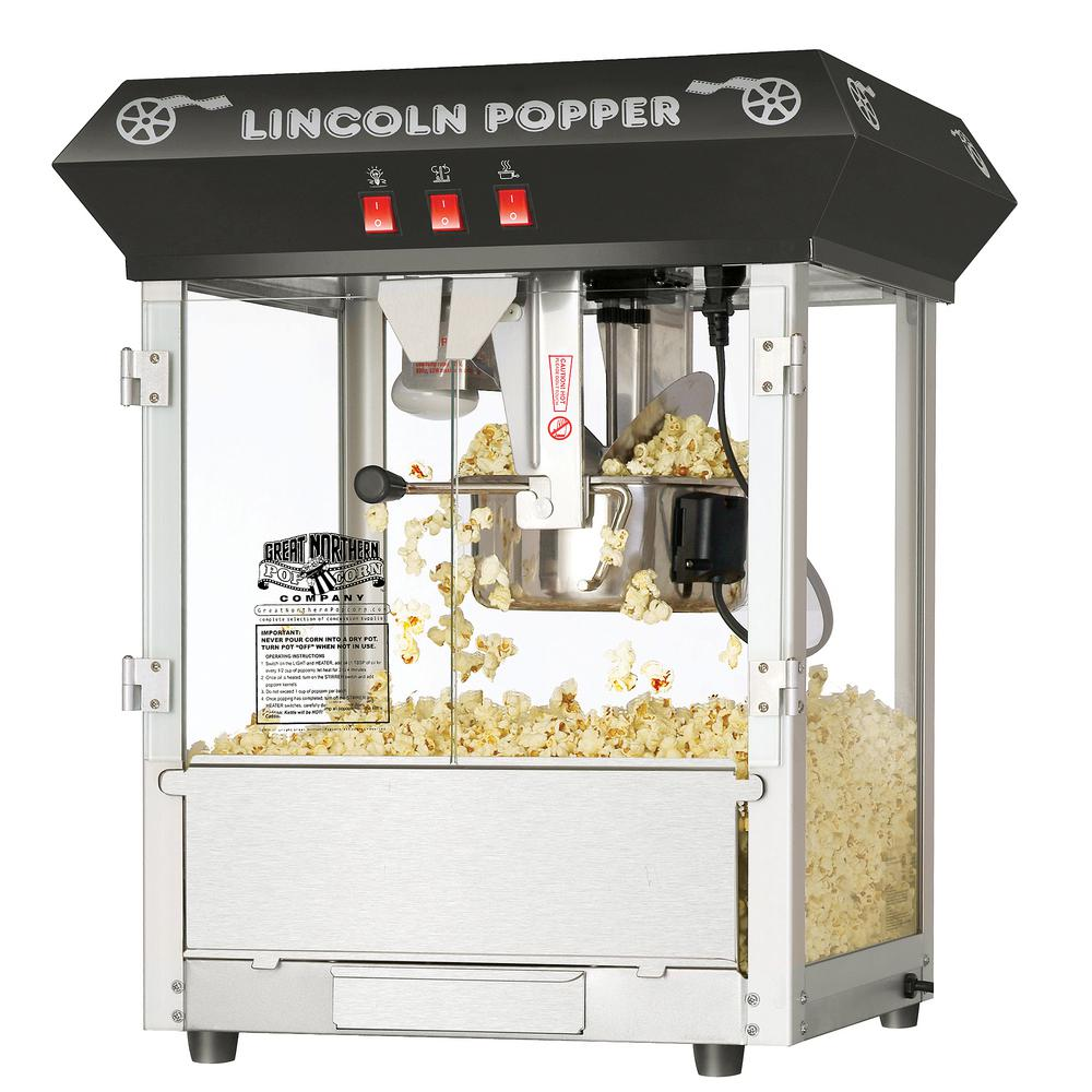 Great Northern Lincoln 8 oz. Antiquw Black Countertop Popcorn Machine