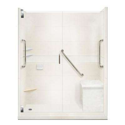 Classic Freedom Grand Hinged 36 in. x 60 in. x 80 in. Left Drain Alcove Shower Kit in Natural Buff and Satin Nickel