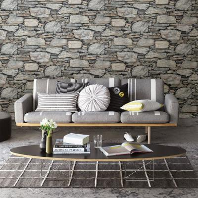 56.4  sq. ft. Cesar Grey Stone Wall Wallpaper