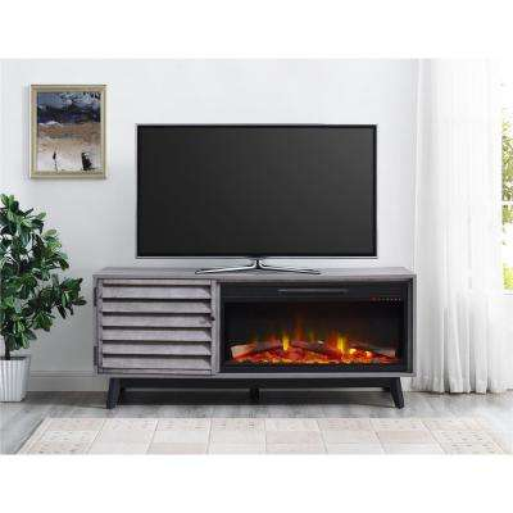 Vaughn Fireplace 60 in. TV Console in Gray Oak