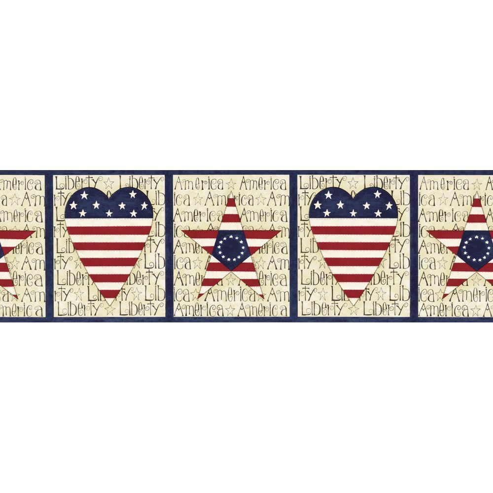 The Wallpaper Company 8 in. x 10 in. Blue Stars and Stripes Border Sample-DISCONTINUED