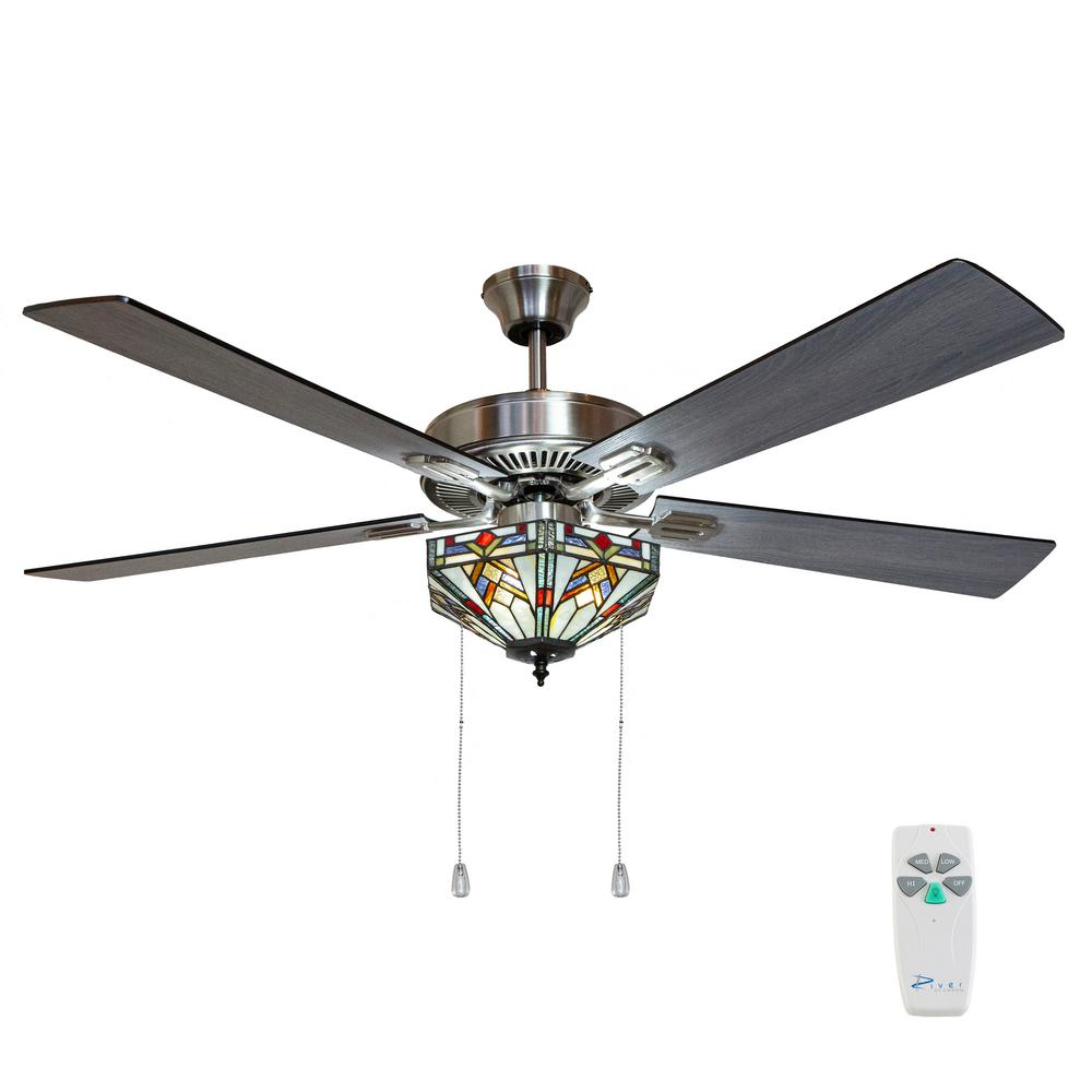River of Goods Wright 52 in. Satin Nickel Mission Stained Glass Ceiling Fan with Light and Remote