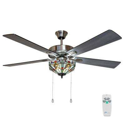 Wright 52 in. Satin Nickel Mission Stained Glass Ceiling Fan with Light and Remote