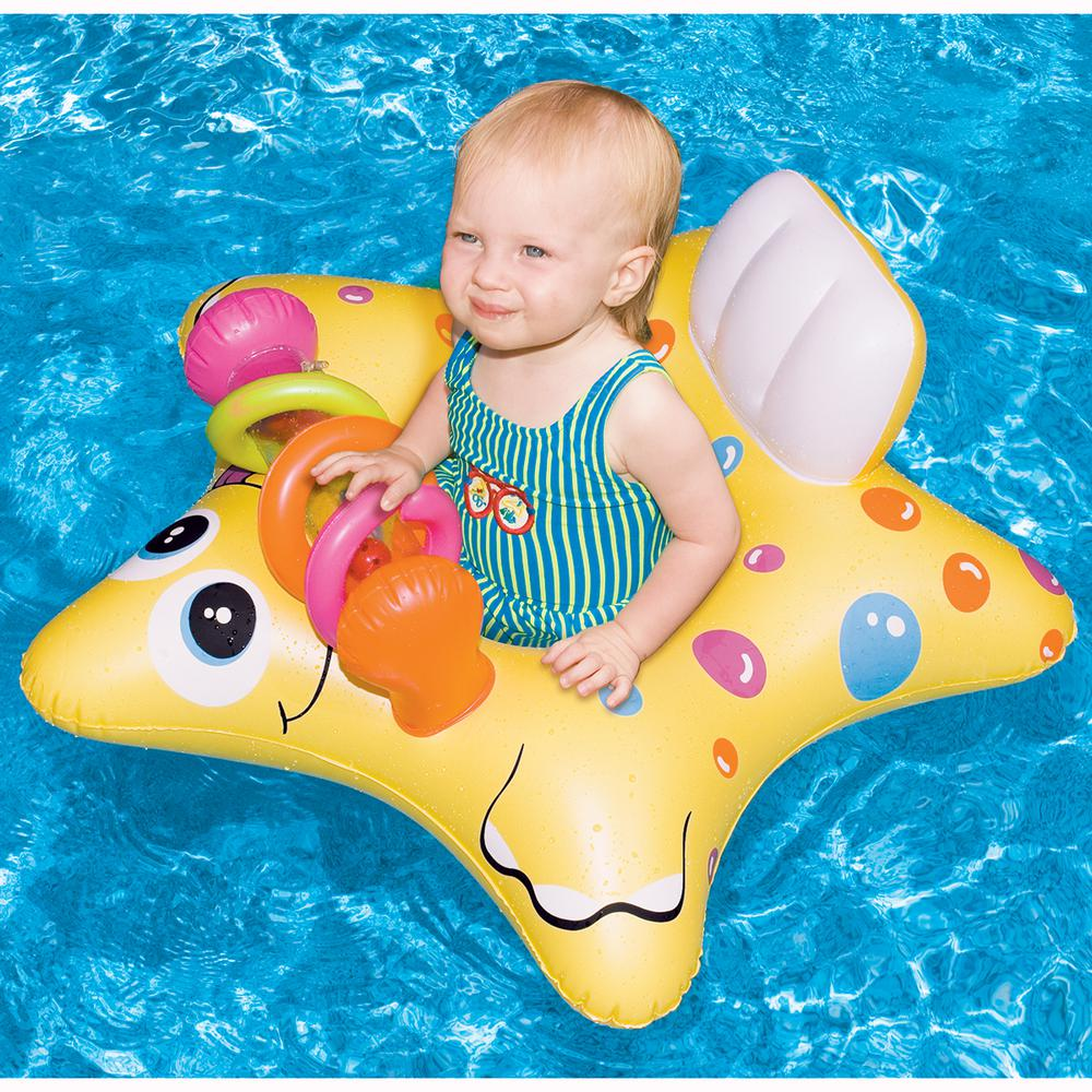 Swimline 33 in. Yellow Starfish Baby Seat with Onboard Toys Pool Float