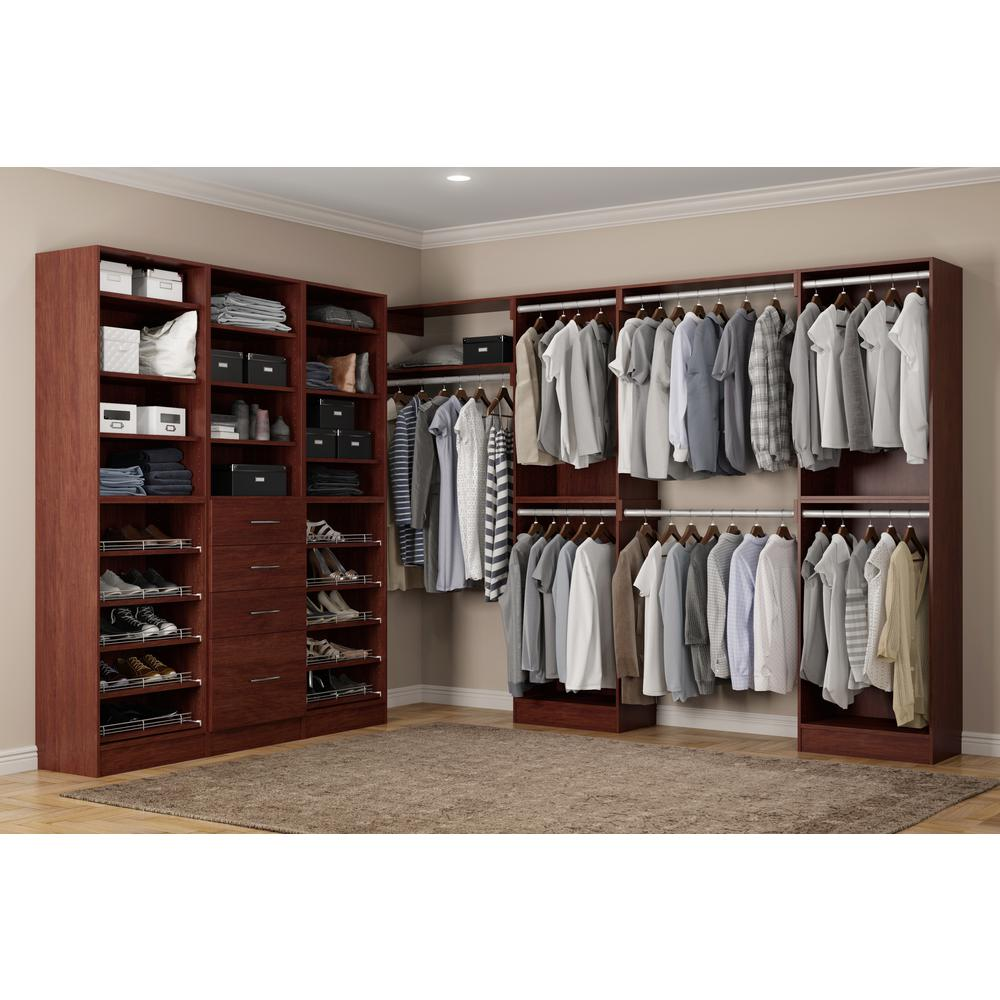 Home Decorators Collection Calabria Walk In 15 in. D x 243 in. W x 84 in. H Cherry Wood Closet System